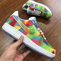 Air force 1 Rainbow Chicago Series Sneakers Leisure Shoes Green yellow blue