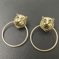 GUCCI New fashion leopard head round retro women earring accessories Golden