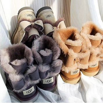 """""""UGG"""" Fashion Winter Women Bowknot Flat Warm Snow Ankle Boots"""