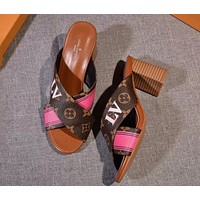 LV Louis Vuitton tide brand female letter Logo cross with thick heel high heel slippers shoes #2