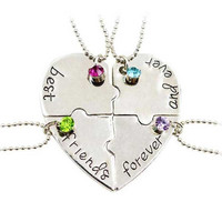 """Special Present Lettering """"Best Friends forever And Ever"""" Heart Shape Four Parts Splice Necklace Best Friends Necklace Jewelry"""