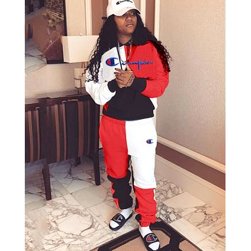 Champion new women's embroidery letter sports suit two-piece