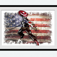 Watercolor Captain America print Colorful superhero poster Home decoration gift Kids room illustration Wall hanging art Nursery room  W170