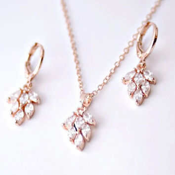 Rose Gold Leaf Jewelry Set