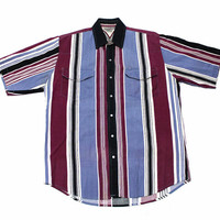 Vintage 90s Blue/Maroon Striped Western Pearl Snap Button Up Shirt Mens Size Large