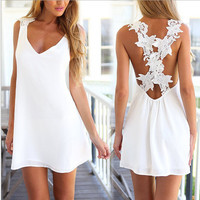 V-Neck Floral Lace Cross Back Dress