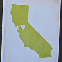 My Heart's in California8x10 Illustrated Print by sweetlyframed