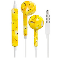 Stunning Printing Smile Face Design 3.5mm Plug Earphones/Earbuds with Volume Control & Microphone for iPhone, iPad, iPad Mini (Yellow)