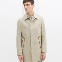 SHORT TRENCH COAT WITH POCKET EDGING
