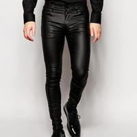 ASOS Extreme Super Skinny Jeans In Leather Look