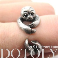 Realistic Sloth Animal Wrap Around Hug Ring in Silver - Sizes 5 to 10