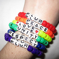 Set of PLUR Raver Rainbow Kandi Bracelets by SweetAsKandi on Etsy