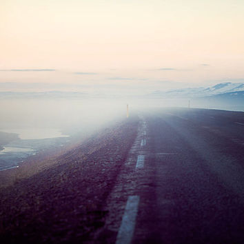 On the Road - Landscape Photography, Fog, Pastel, Iceland, Travel, Road Trip, Purple, Pink, Adventure, Sunset, Mysterious