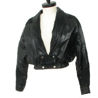 Retro 80s Leather Jacket (Genuine Leather) : 80s -Genuine Leather- Womens smooth and snakeskin pattern embossed suede leather jacket with shawl collar, lower inset pockets, four snap closure at Waist, elasticized waistline and black polyester lining.