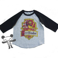 Gryffindor raglan shirt Harry Potter for kids toddlers boys girls clothing size S M L XL