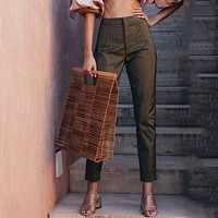 High Waist Bodycon Army Green Pants Messenger Pants