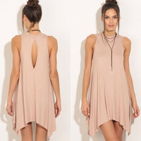 Summer Round-neck Sleeveless Irregular One Piece Dress [4970283716]