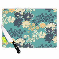 "Zara Martina Mansen ""Teal Color Bouquet"" Green Blue Cutting Board"