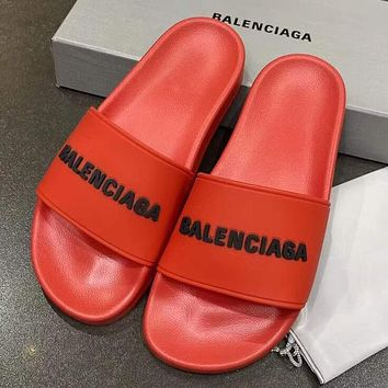 Balenciaga new letter logo simple men's and women's outer slippers Shoes Red