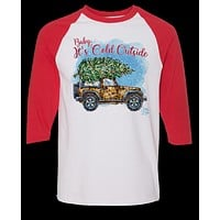 Sassy Frass Baby its Cold Outside Jeep Christmas Long Sleeve Raglan Bright Girlie T Shirt