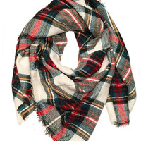 Red and Ivory Plaid Blanket Scarf