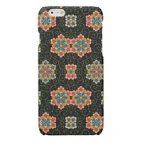 Vintage Floral on Black Glossy iPhone 6 Case