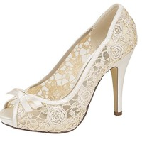 Ladies Womens Ivory Black Coral Peach Satin Lace High Heel Peep Toe Wedding Evening Party Court Shoes