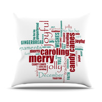 """Sylvia Cook """"Yuletide"""" Christmas Typography Outdoor Throw Pillow"""