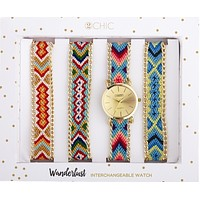 Interchangeable Woven Watch with 4 Assorted Multicolor Bands