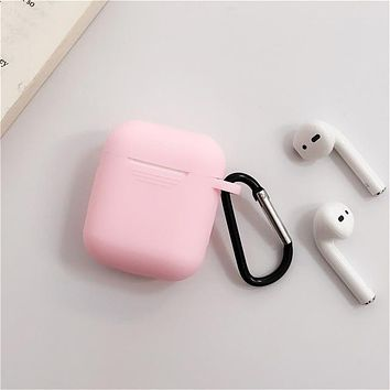 Solid Pink - Protective Case Cover Compatible with the Apple Airpods Gen 1 or 2 with Wireless Charging Headphones