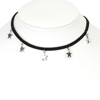 Silver Star Drop Black Choker Necklace
