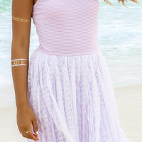 Dancing Queen Lilac Stripe Top Lace Skirt Ballerina Dress