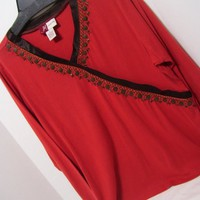 Knit Top, Blouse, Rust Red, Brown Trim Beads, Jm Collection. size L Large, Dressy Casual, Resort Cruise Wear