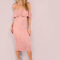 Pink Suede Off The Shoulder Ruffle Dress