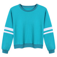 Blue Long Sleeve Stripe Detail Sweatshirt