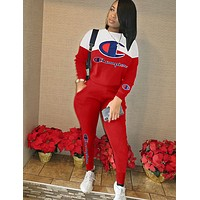 Champion fashion women letter embroidery color matching two piece suit