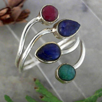 Two Tone Sapphire & Emerald Gemstone 925 Sterling Silver Ring CC-40018