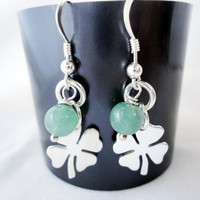 Sterling Silver Shamrock and green aventurine earrings, Lucky Charm Dangle Earrings, Four Leaf Clover, St Patricks Day,