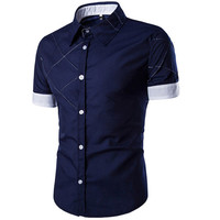 Navy Blue Button Down Slim Fit with White Sleeve Ends