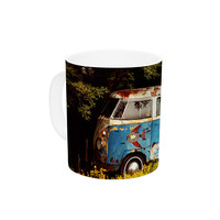 "Angie Turner ""Hippie Bus"" Blue Yellow Ceramic Coffee Mug"