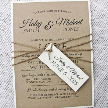 Rustic Wedding Invitation, Shabby Chic Wedding Invitation,Vintage wedding Invitation Suite of 50