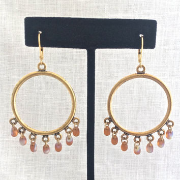 Large Gold Hoop Earrings with Beads, Beaded Brass Hoop, Boho Jewelry, Gold Gypsy Hoop, Amber Glass, 597