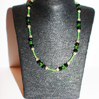 Green and Black Crystal Beaded Necklace with Silver Accents