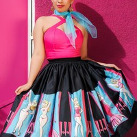 Pinup Couture Jenny Skirt in Burlesque Performer Print