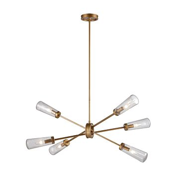 Xenia 6-Light Chandelier in Matte Gold with Seedy Glass