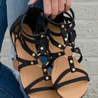 Black Strappy Gladiator Sandals