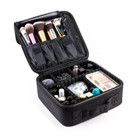Makeup Train Case, FORTECH Portable Travel Makeup Cosmetic Bag with Adjustable Dividers