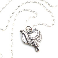 Cowboy Necklace, Country Western Jewelry, Saddle, Western Necklace, Country Girl, Gift, Line Dance, Valentine