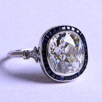3.90ct Cushion Moissanite Diamond Engagement Ring Art Deco Sapphire Halo 18kt JEWELFORME BLUE