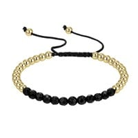 Designer Black & Gold Bead Ball Link Bracelet Braided 14k Gold Finish New
